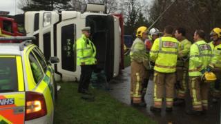 Turkey lorry overturned in Norwich