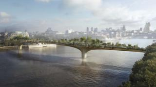 Artists impression of the Garden Bridge over the River Thames.