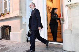 Britain's Ambassador to the European Union Tim Barrow leaves Britain's Permanent Representation to the EU in Brussels on 31 January 2020