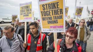 Union members demonstrate outside the TUC Congress earlier this month