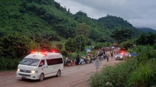An ambulance carrying one of the boys rescued from Tham Luang Nang Non cave heading towards the hospital on 8 July 8 2018 in Chiang Rai, Thailand