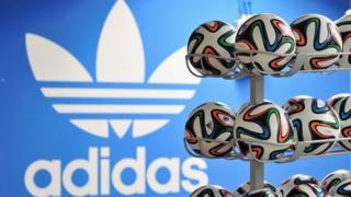 Adidas logo and footballs