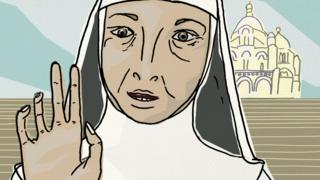 Illustration of nun on the steps in front of Sacre-Coeur
