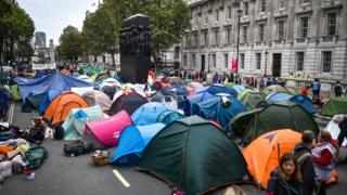 Tents in Whitehall