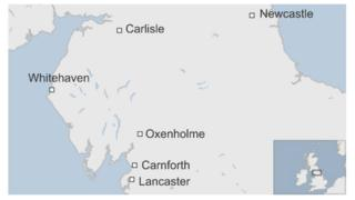 Map showing where Carnforth is