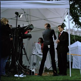 Alastair Campbell being interviewed by CNN