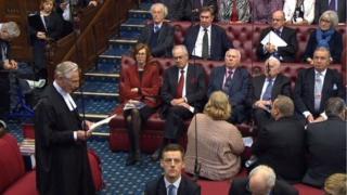 Lords Speaker Lord Fowler addressing peers