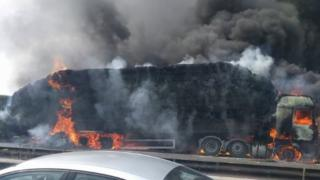 M2 lorry fire