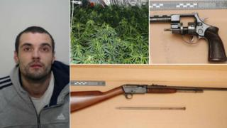 Christopher Bryson and the guns and cannabis that were found in his address