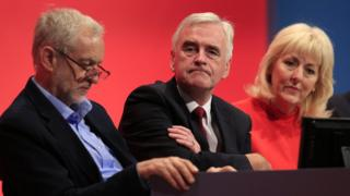 Jennie Formby sits with Jeremy Corbyn and John McDonnell at party conference