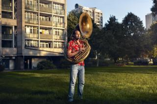 Bruce Stevens and his Sousaphone in Oval, London