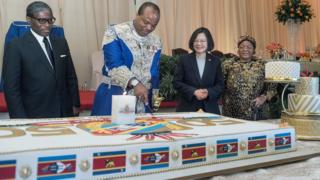 Taiwan's President Tsai Ing-wen (2-L) watching Swaziland's King Mswati III (2-R) cutting a birthday cake to celebrate 50th anniversary of independence and his 50th birthday in Manzini, Swaziland, 19 April 2018