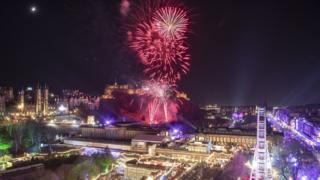 Fireworks in Edinburgh on New Year's Eve