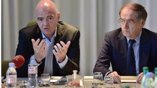 Gianni Infantino, le président de la Fifa, et Noël Le Graët, le président de la FFF