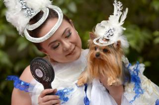 A woman fans her dog who is wearing a hat