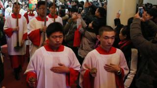 今年聖誕節在中國北京舉行的天主教儀式。中