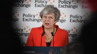 Theresa May gives a speech in response to the Augar Review