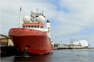 The 'Fugro Equator' returns to Fremantle Harbour for resupply on 12 August 2015 in Fremantle, Australia.