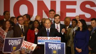 Doug Jones giving victory speech