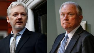 Two-part composite of Julian Assange, left, and Jeff Sessions, right