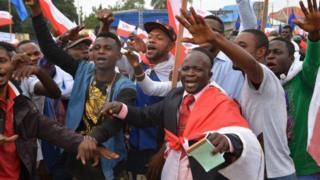 Wafuasi wa upinzani wakifanya maandamano nchini DRC