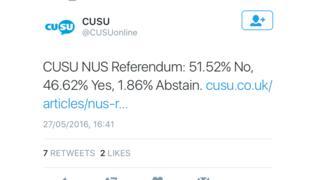 Referendum result on twitter