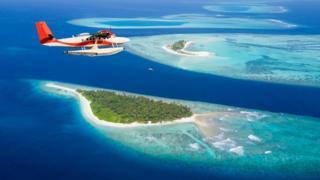 Una vista aérea de islas de Maldivas