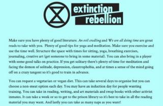 Screenshot of Extinction Rebellion's prison guide before it was deleted from its website