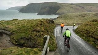 Cyclists on Pembrokeshire coast