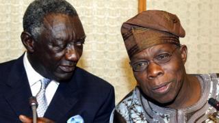 Aarẹ orilẹede Ghana ati Naijiria nigba kan ri, John Kufuor ati Oluṣegun Obasanjo