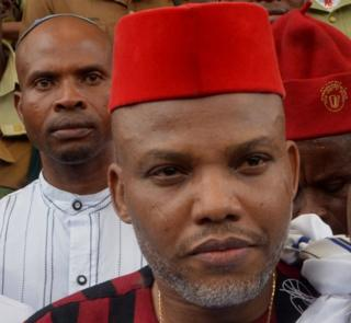 Leader of Indigenous People of Biafra (IPOB) Nnamdi Kanu steps out of the courtroom after being granted bail by the Federal High Court in Abuja, on April 25, 2017