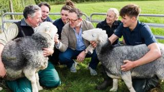 Matt Bagley, head of agriculture at Newton Rigg College, with Spencer Hannah of The Herdy Company, Amanda Carson of the Herdwick Sheep Breeders Association, and students from Newton Rigg college.