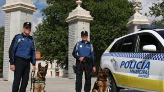 Polisi wa manispaa wa Madrid wakiwa pamoja na mbwa