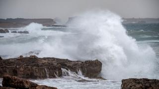 High waves at Cala de Bou, Ibiza, Balearic Islands, Spain