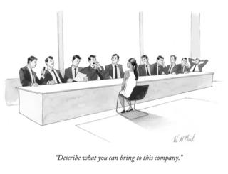A cartoon of a black woman interviewing in front of a panel of 10 white men