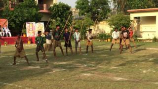 "Trainees at a Hindu ""self defence"" camp"