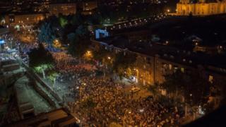 """Сторонники """"Сасна црер"""" во время протестов в Ереване"""