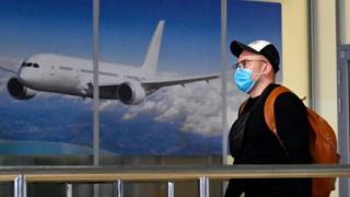 A passenger arrives in Ukraine from China