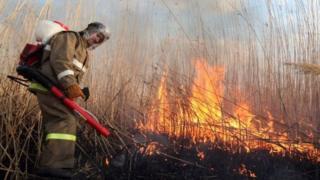 Активист тушит пожар