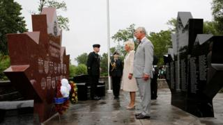 Prince Charles and Camilla at the Afghanistan Repatriation Memorial in Trenton