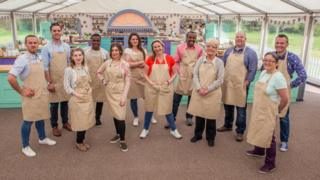 The new contestants of Great British Bake Off - left to right Steven, Tom, Julia, Liam, Kate, Sophie, Stacey, Peter, Flo, James, Yan and Chris