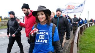 Marchers take part in the first leg of the March to Leave demonstration on March 16, 2019 in Sunderland, England. The first leg between Sunderland and Hartlepool marks the start of a 14 stage journey with those marching expecting to arrive in London on March 29, the original date for the UK to leave the European Union.