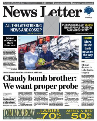 Tuesday 25 July News Letter front page