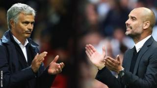 Jose Mourinho oo bidix ka muuqda iyo Pep Guardiola dhanka midig xiga midba mar ayuu badiyay labo kulan oo ay iska hor yimaadeen