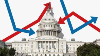 Congress surrounded by red and blue arrows