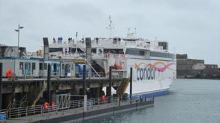Condor Liberation docked in St Peter Port Harbour
