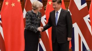Theresa May and Xi Jinping at the G20 summit in 2016