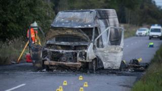 Fire damaged van