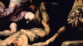 Apollo and Marsyas (1637) menampilkan salah satu tema favorit Ribera: tubuh yang dikuliti hidup-hidup. (Credit: Museo e Real Bosco di Capodimonte, Naples)
