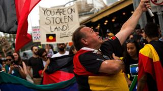 A protest about Australia Day held in Melbourne this year
